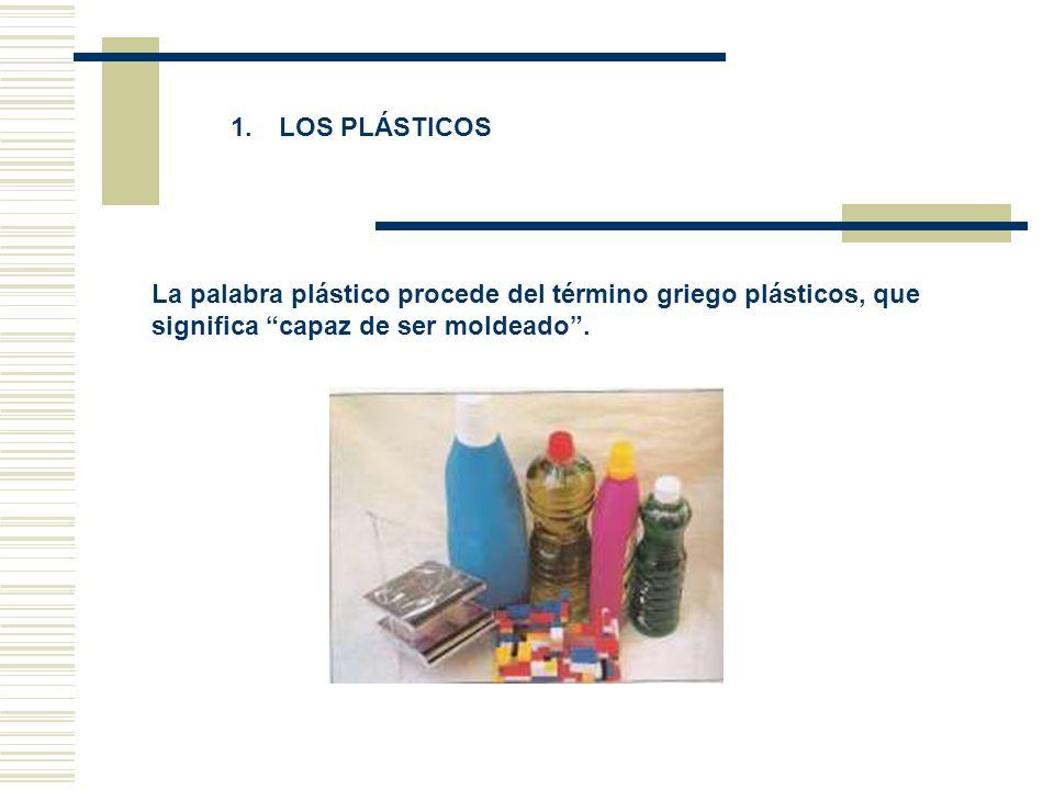 1. LOS PLÁSTICOS La palabra plástico procede del término griego plásticos, que significa capaz de ser moldeado.