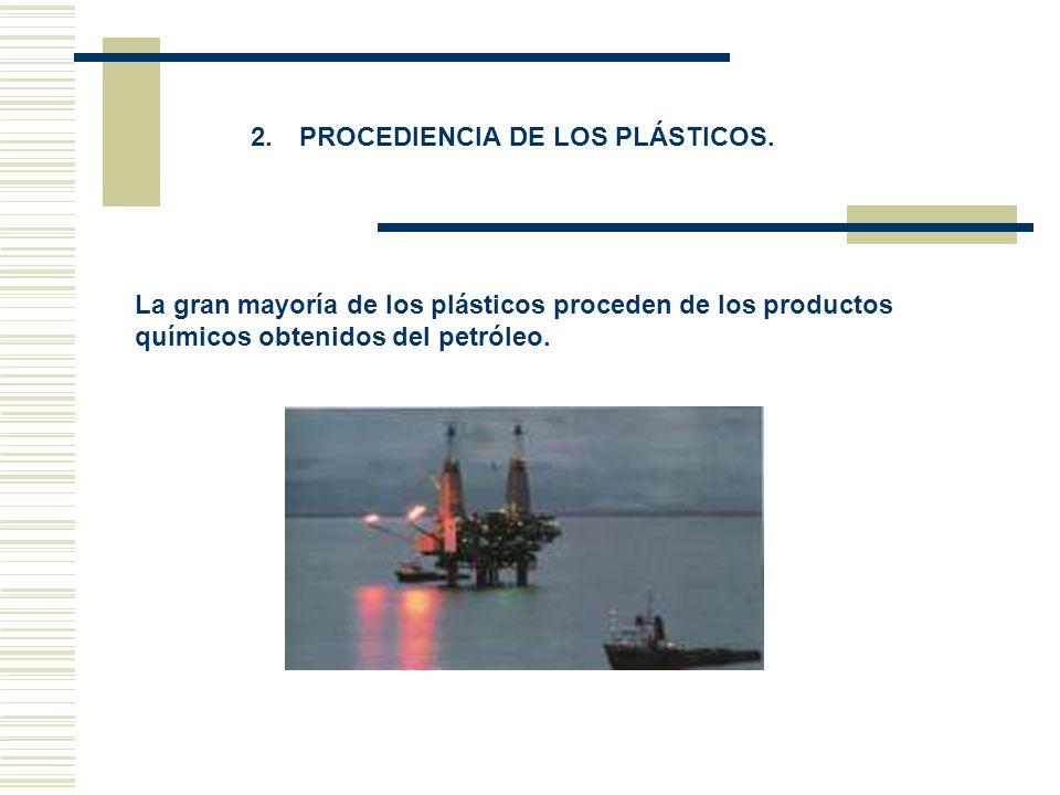 2. PROCEDIENCIA DE LOS PLÁSTICOS. La gran mayoría de los plásticos proceden de los productos químicos obtenidos del petróleo.