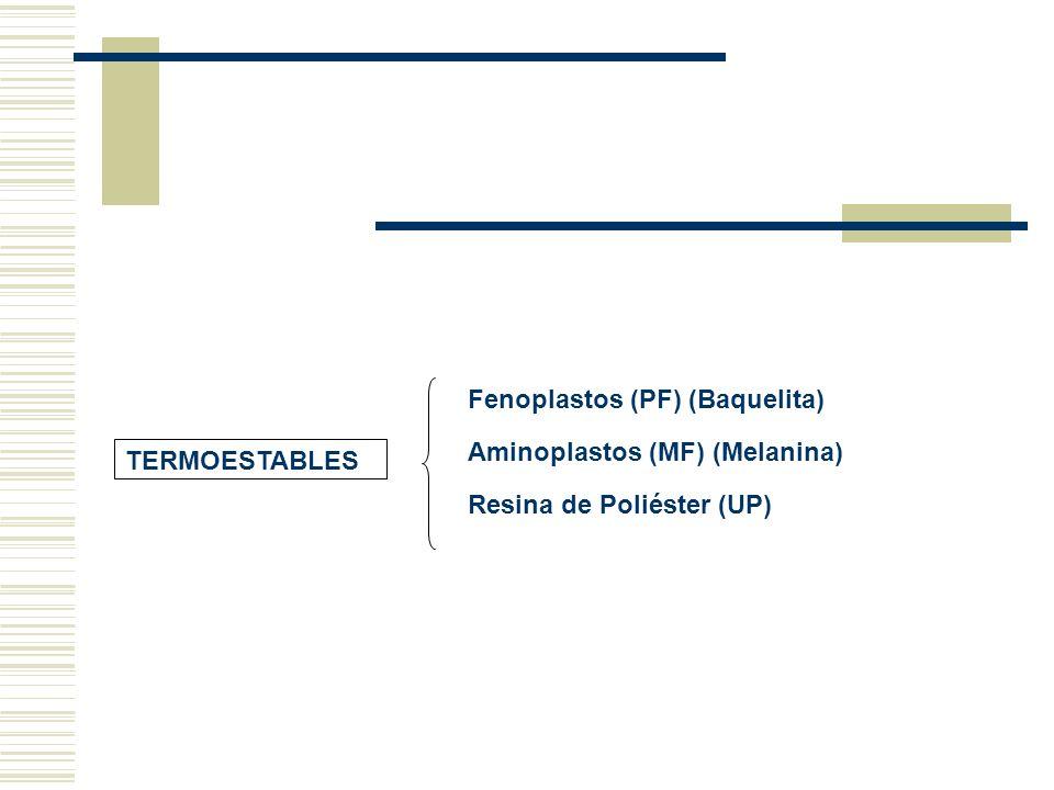 Fenoplastos (PF) (Baquelita) Aminoplastos (MF) (Melanina) Resina de Poliéster (UP)
