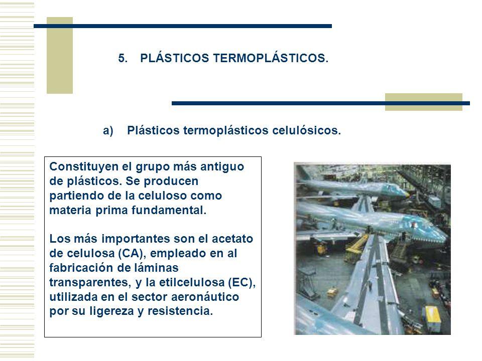 5. PLÁSTICOS TERMOPLÁSTICOS. a) Plásticos termoplásticos celulósicos. Constituyen el grupo más antiguo de plásticos. Se producen partiendo de la celul