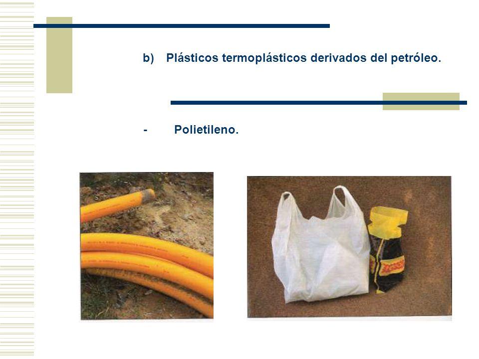b) Plásticos termoplásticos derivados del petróleo. - Polietileno.