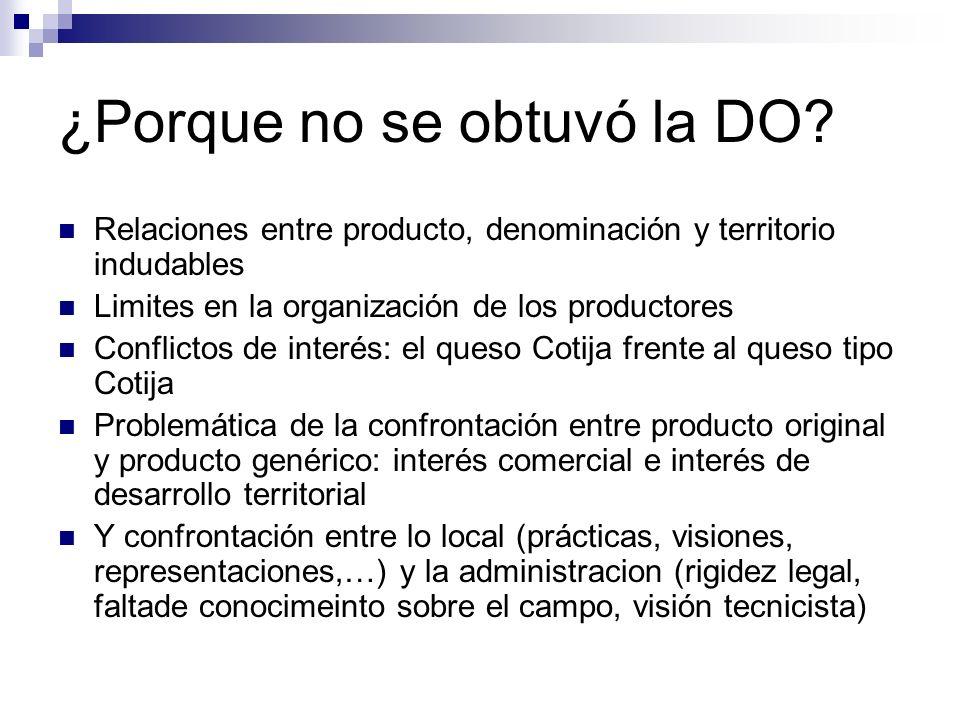 ¿Porque no se obtuvó la DO? Relaciones entre producto, denominación y territorio indudables Limites en la organización de los productores Conflictos d