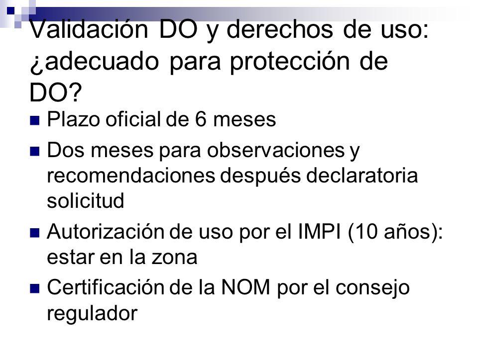 Validación DO y derechos de uso: ¿adecuado para protección de DO? Plazo oficial de 6 meses Dos meses para observaciones y recomendaciones después decl
