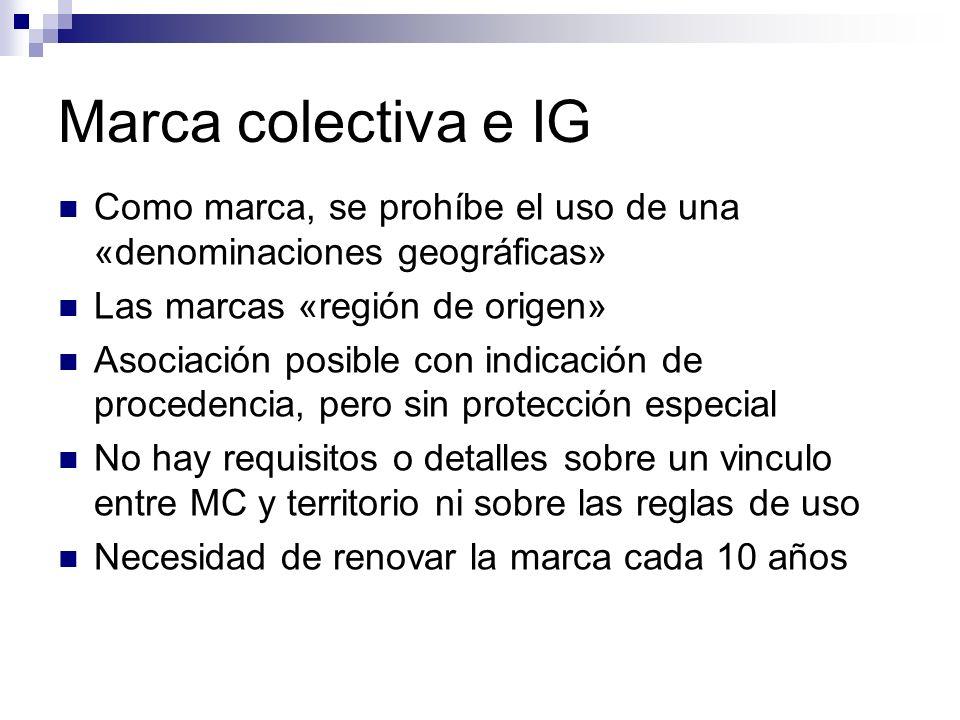 Marca colectiva e IG Como marca, se prohíbe el uso de una «denominaciones geográficas» Las marcas «región de origen» Asociación posible con indicación