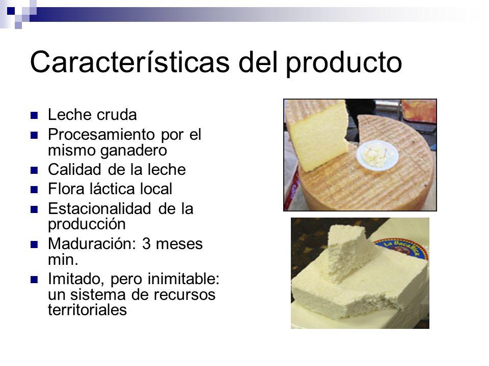 Características del producto Leche cruda Procesamiento por el mismo ganadero Calidad de la leche Flora láctica local Estacionalidad de la producción M