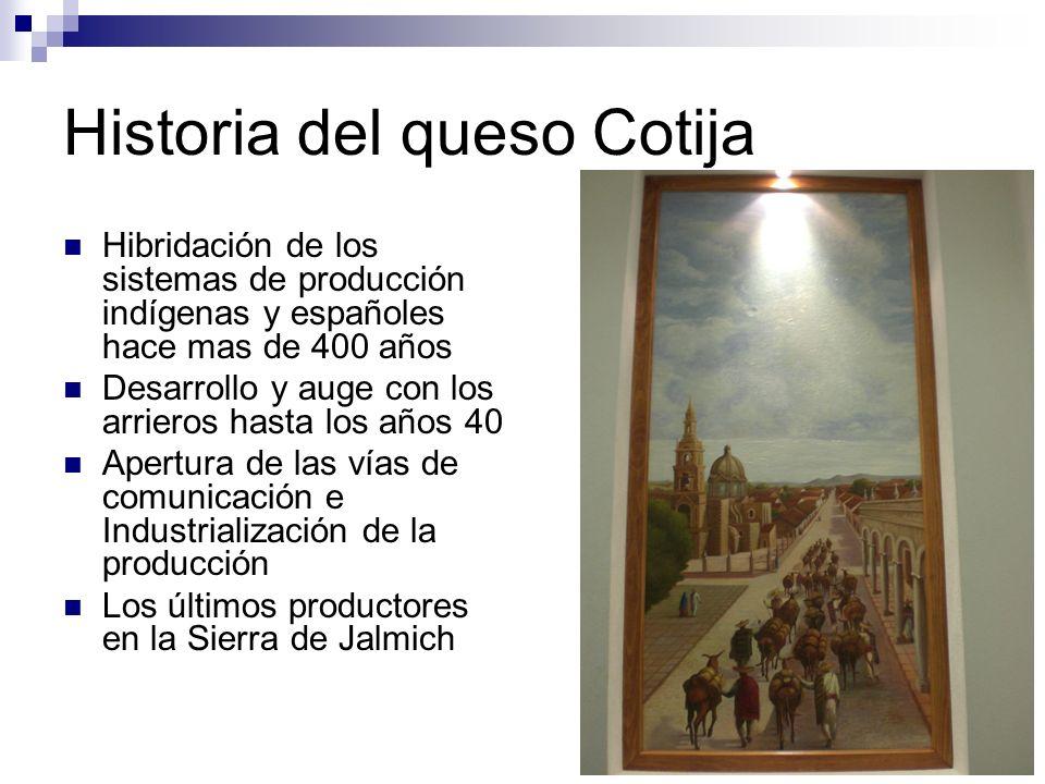 Historia del queso Cotija Hibridación de los sistemas de producción indígenas y españoles hace mas de 400 años Desarrollo y auge con los arrieros hast