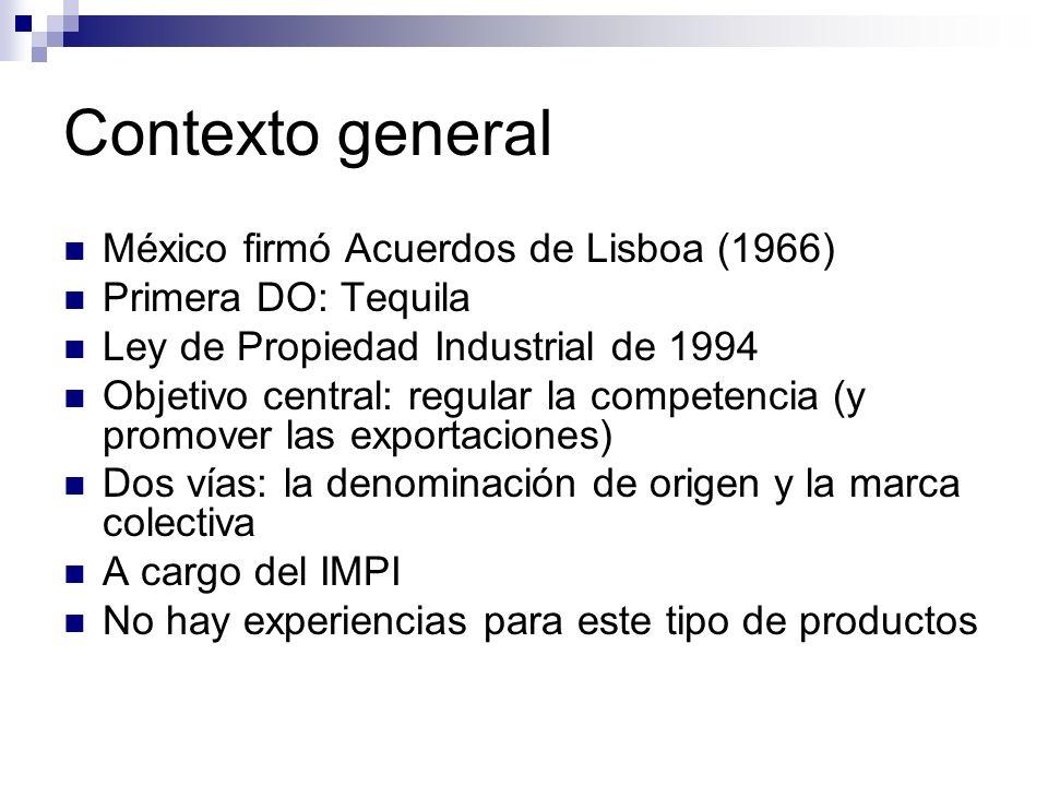 Contexto general México firmó Acuerdos de Lisboa (1966) Primera DO: Tequila Ley de Propiedad Industrial de 1994 Objetivo central: regular la competenc