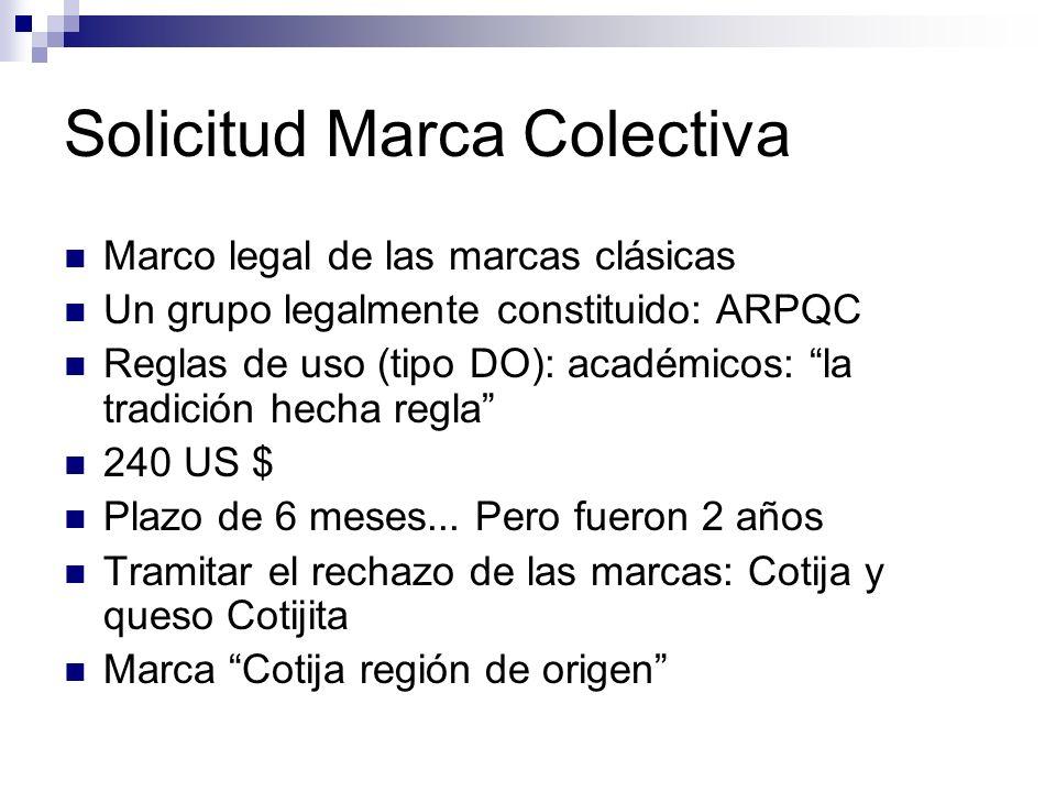 Solicitud Marca Colectiva Marco legal de las marcas clásicas Un grupo legalmente constituido: ARPQC Reglas de uso (tipo DO): académicos: la tradición
