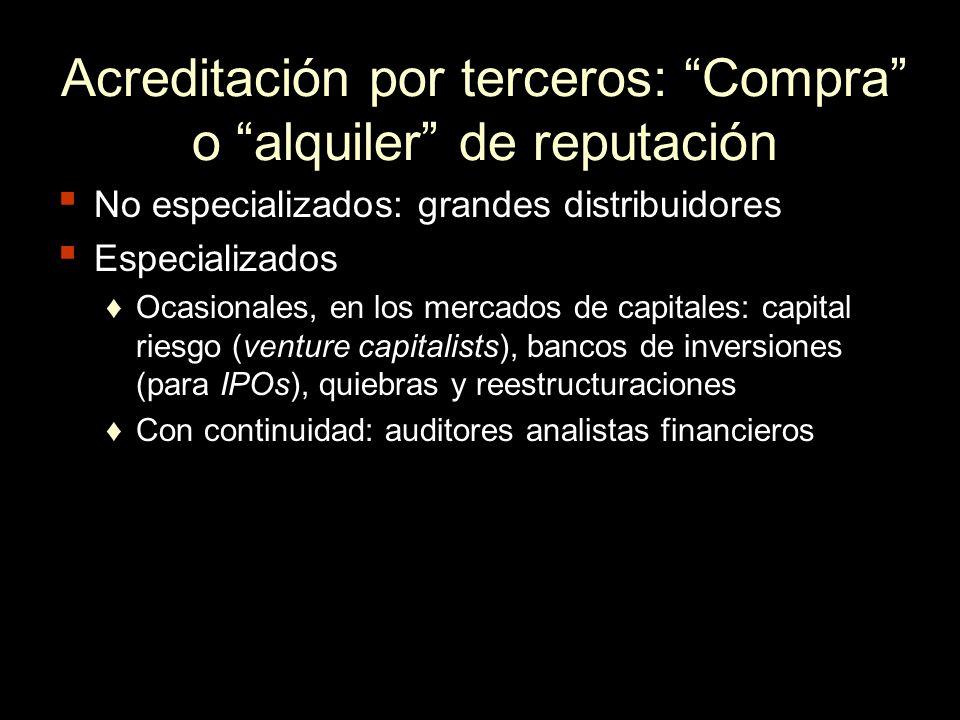 Acreditación por terceros: Compra o alquiler de reputación No especializados: grandes distribuidores Especializados Ocasionales, en los mercados de ca