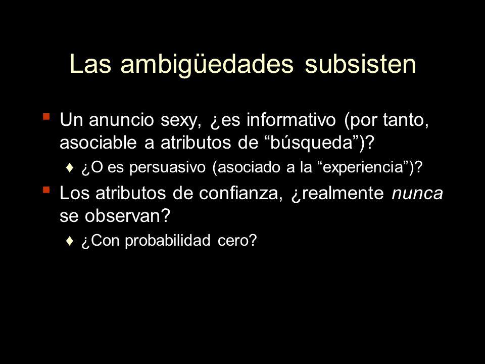 Las ambigüedades subsisten Un anuncio sexy, ¿es informativo (por tanto, asociable a atributos de búsqueda)? ¿O es persuasivo (asociado a la experienci