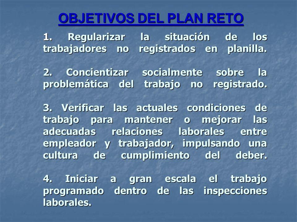 1. Regularizar la situación de los trabajadores no registrados en planilla. 2. Concientizar socialmente sobre la problemática del trabajo no registrad