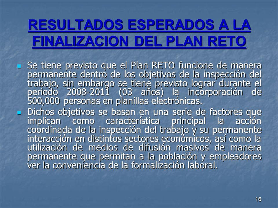 16 RESULTADOS ESPERADOS A LA FINALIZACION DEL PLAN RETO Se tiene previsto que el Plan RETO funcione de manera permanente dentro de los objetivos de la