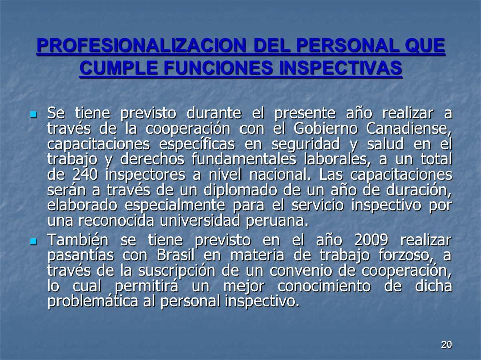 20 PROFESIONALIZACION DEL PERSONAL QUE CUMPLE FUNCIONES INSPECTIVAS Se tiene previsto durante el presente año realizar a través de la cooperación con