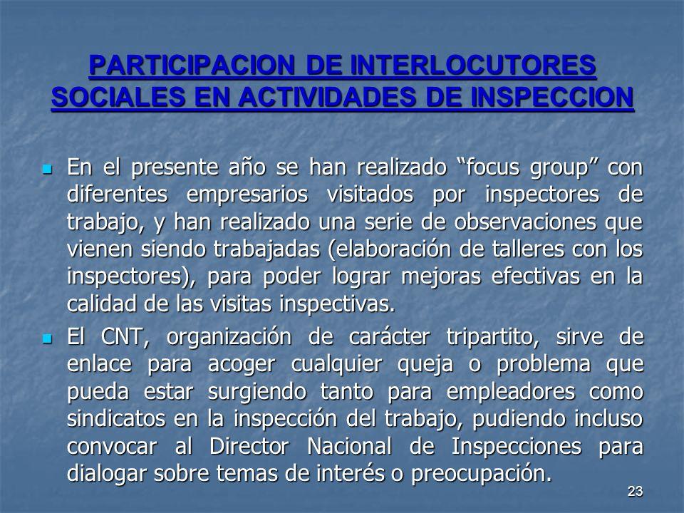 23 PARTICIPACION DE INTERLOCUTORES SOCIALES EN ACTIVIDADES DE INSPECCION En el presente año se han realizado focus group con diferentes empresarios vi