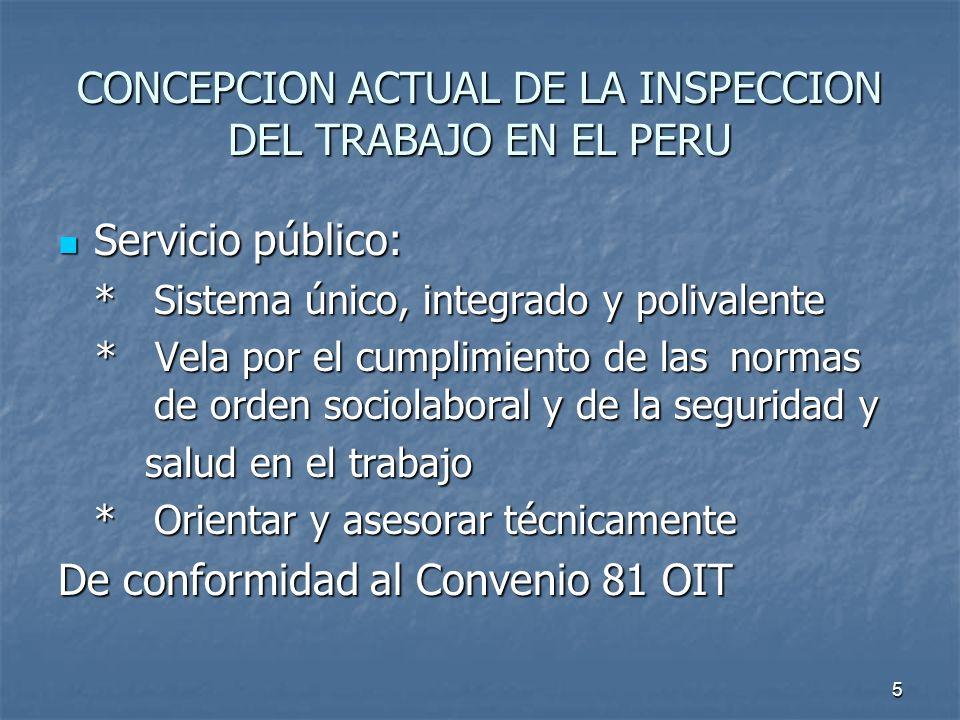 5 CONCEPCION ACTUAL DE LA INSPECCION DEL TRABAJO EN EL PERU Servicio público: Servicio público: *Sistema único, integrado y polivalente * Vela por el