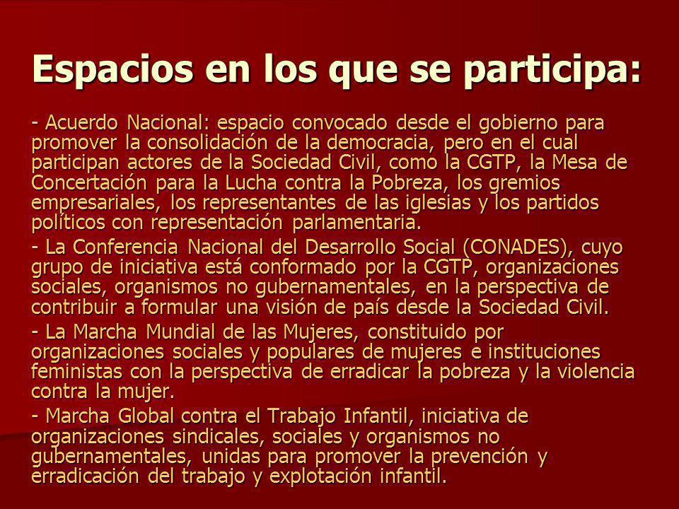 Espacios en los que se participa: - Acuerdo Nacional: espacio convocado desde el gobierno para promover la consolidación de la democracia, pero en el
