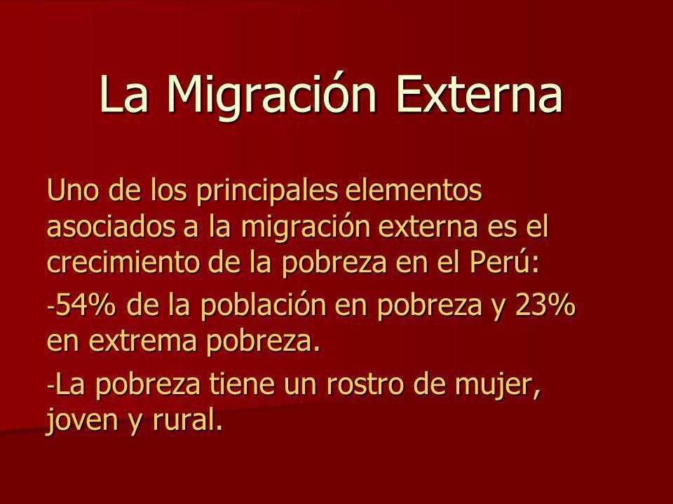 La Migración Externa Uno de los principales elementos asociados a la migración externa es el crecimiento de la pobreza en el Perú: - 54% de la poblaci
