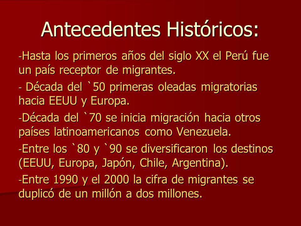 Antecedentes Históricos: - Hasta los primeros años del siglo XX el Perú fue un país receptor de migrantes. - Década del `50 primeras oleadas migratori