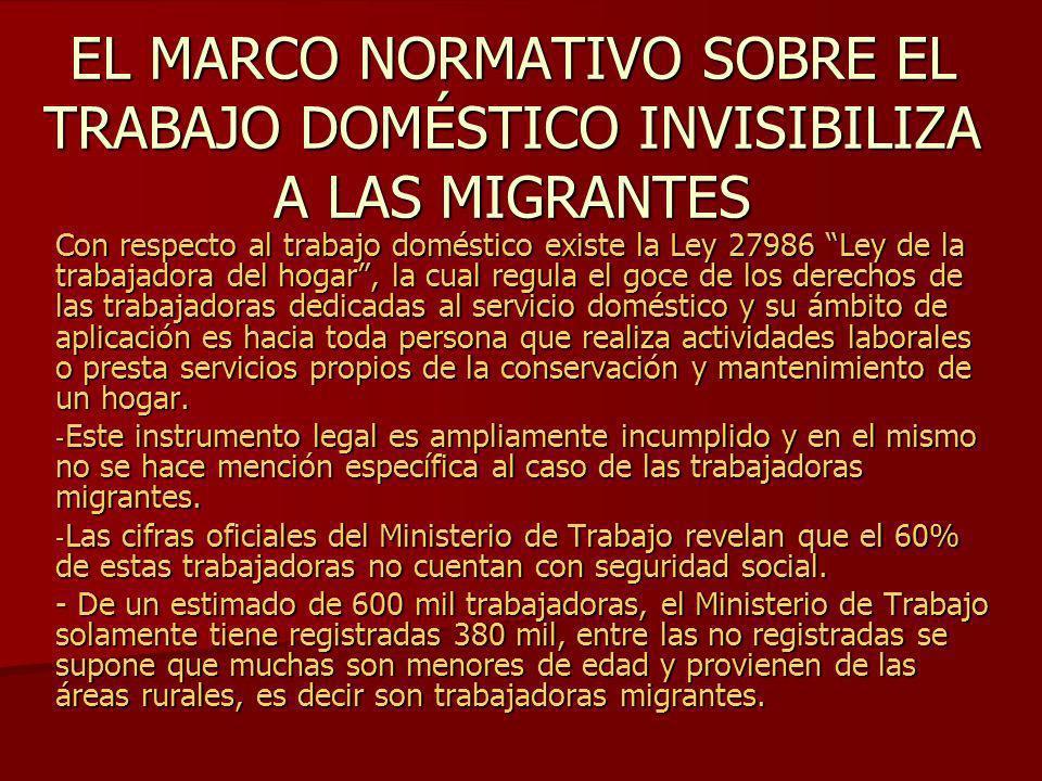 EL MARCO NORMATIVO SOBRE EL TRABAJO DOMÉSTICO INVISIBILIZA A LAS MIGRANTES Con respecto al trabajo doméstico existe la Ley 27986 Ley de la trabajadora