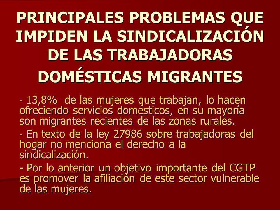 PRINCIPALES PROBLEMAS QUE IMPIDEN LA SINDICALIZACIÓN DE LAS TRABAJADORAS DOMÉSTICAS MIGRANTES - 13,8% de las mujeres que trabajan, lo hacen ofreciendo