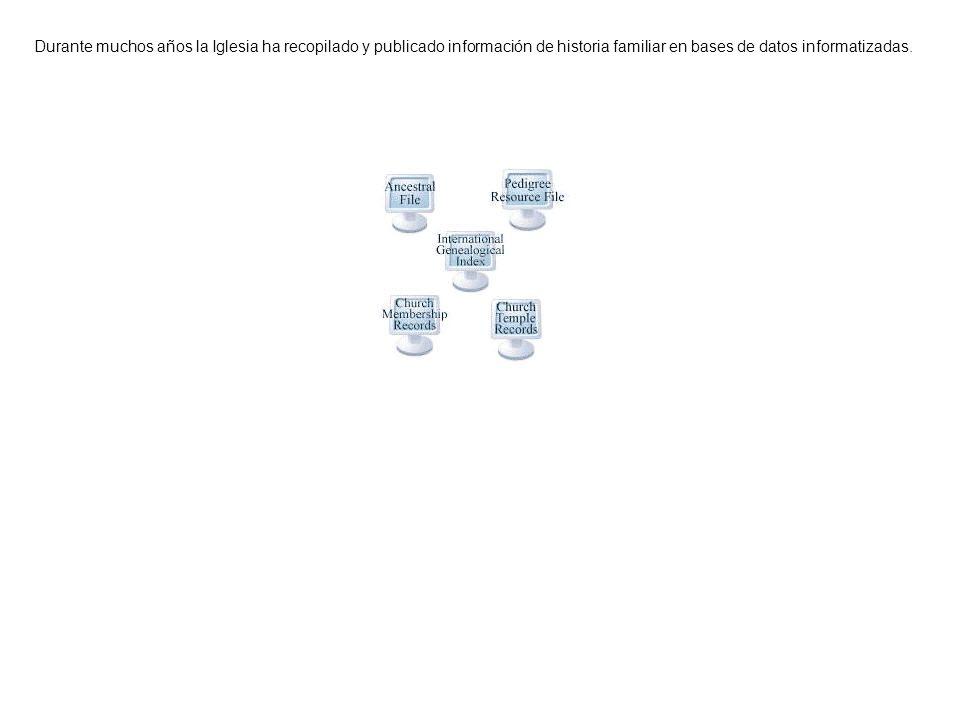 Durante muchos años la Iglesia ha recopilado y publicado información de historia familiar en bases de datos informatizadas.