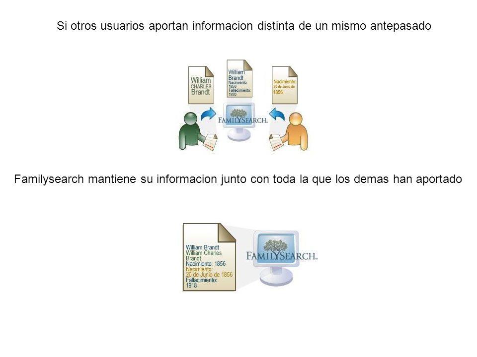 Si otros usuarios aportan informacion distinta de un mismo antepasado Familysearch mantiene su informacion junto con toda la que los demas han aportad