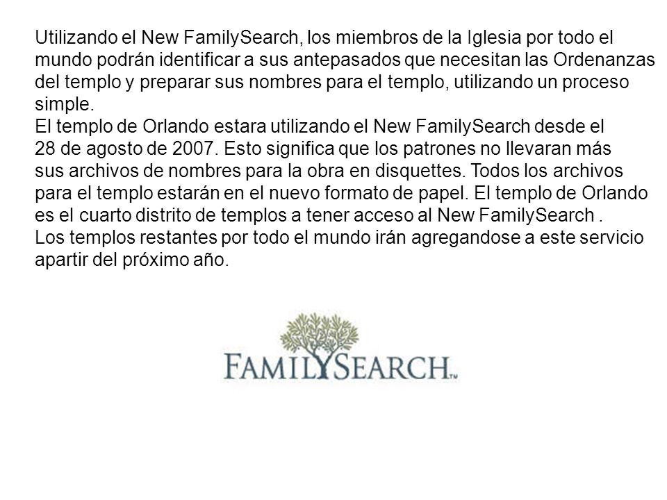 Utilizando el New FamilySearch, los miembros de la Iglesia por todo el mundo podrán identificar a sus antepasados que necesitan las Ordenanzas del tem