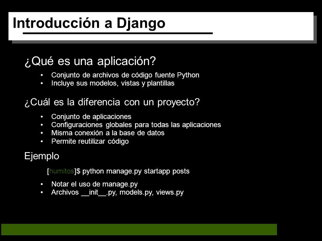 Introducción a Django ¿Qué es una aplicación.