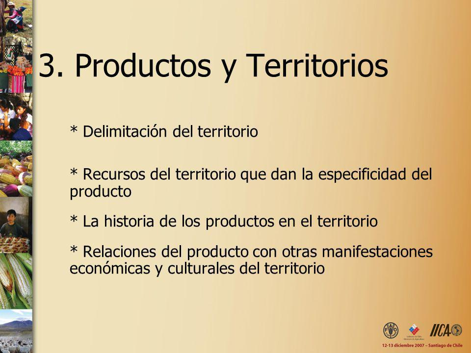 3. Productos y Territorios * Delimitación del territorio * Recursos del territorio que dan la especificidad del producto * La historia de los producto