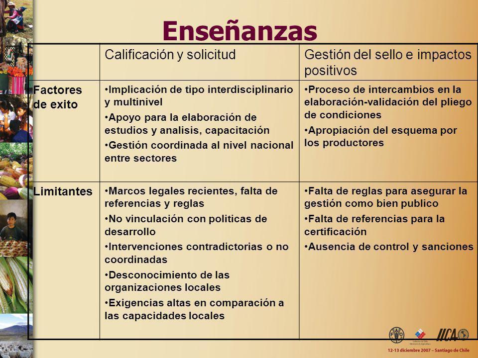 Enseñanzas Calificación y solicitudGestión del sello e impactos positivos Factores de exito Implicación de tipo interdisciplinario y multinivel Apoyo