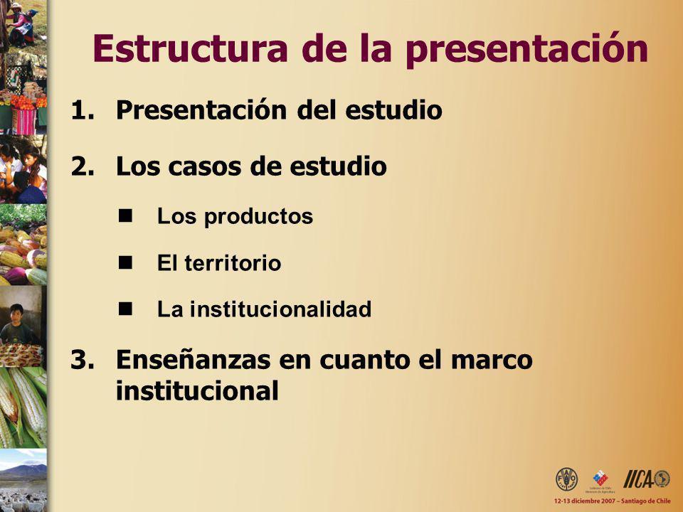 Estructura de la presentación 1.Presentación del estudio 2.Los casos de estudio Los productos El territorio La institucionalidad 3.Enseñanzas en cuant
