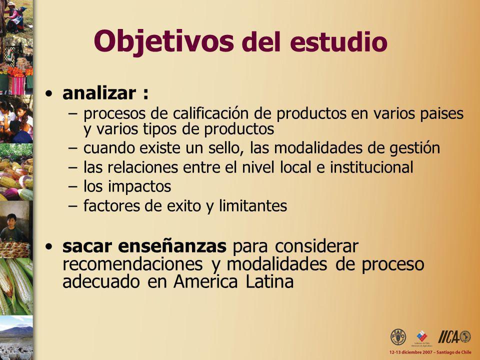 Objetivos del estudio analizar : –procesos de calificación de productos en varios paises y varios tipos de productos –cuando existe un sello, las moda