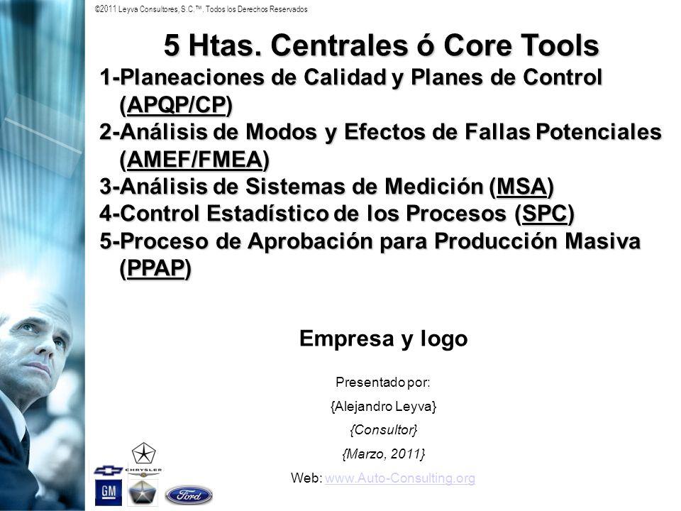 ©2011 Leyva Consultores, S.C.. Todos los Derechos Reservados 5 Htas. Centrales ó Core Tools 1-Planeaciones de Calidad y Planes de Control (APQP/CP) 2-