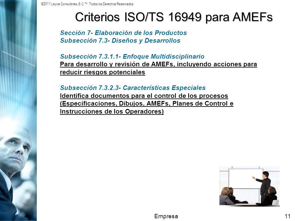 ©2011 Leyva Consultores, S.C.. Todos los Derechos Reservados Empresa11 Criterios ISO/TS 16949 para AMEFs Sección 7- Elaboración de los Productos Subse