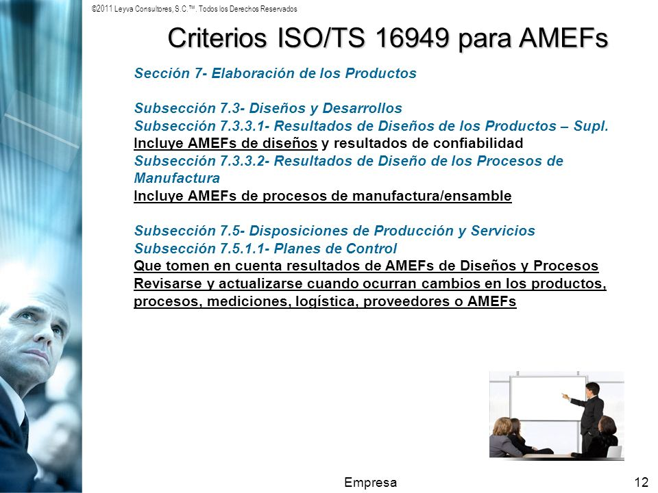 ©2011 Leyva Consultores, S.C.. Todos los Derechos Reservados Empresa12 Criterios ISO/TS 16949 para AMEFs Sección 7- Elaboración de los Productos Subse