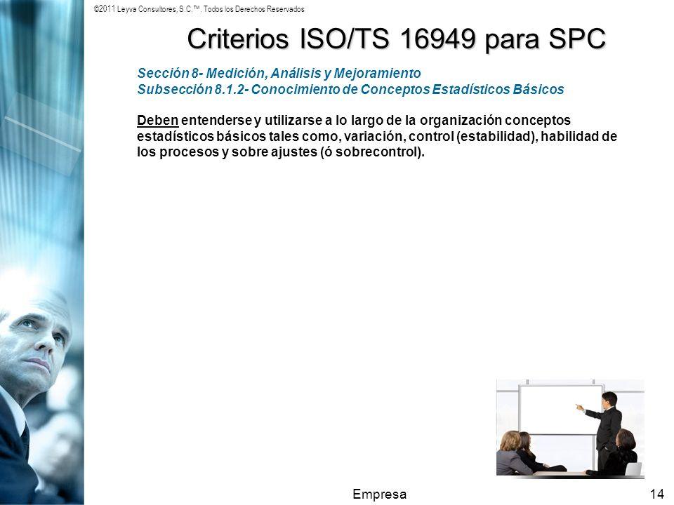 ©2011 Leyva Consultores, S.C.. Todos los Derechos Reservados Empresa14 Criterios ISO/TS 16949 para SPC Sección 8- Medición, Análisis y Mejoramiento Su