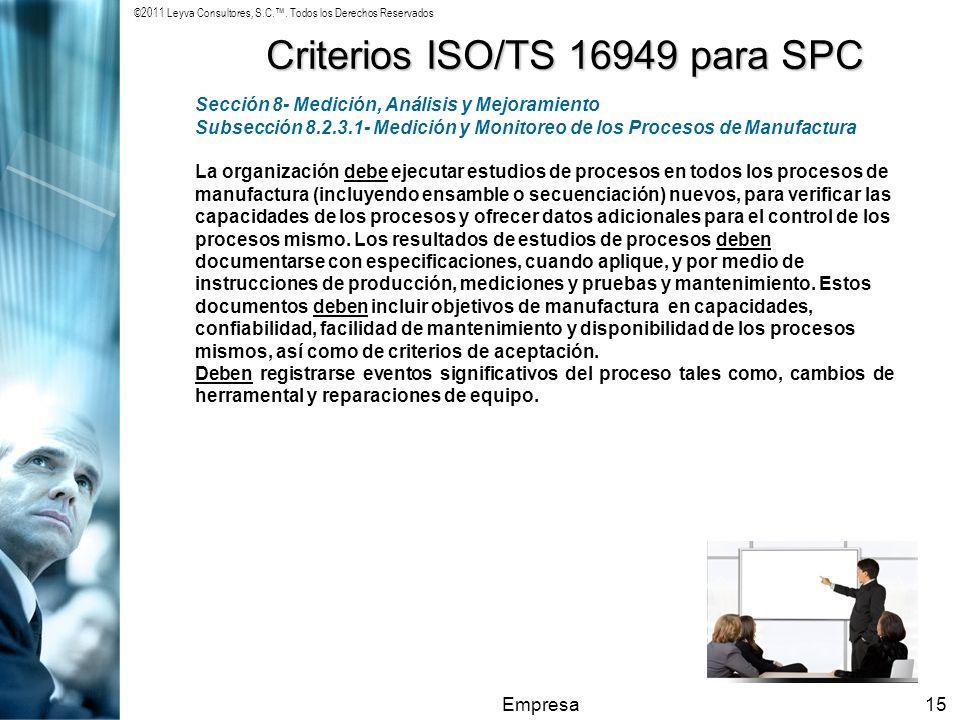 ©2011 Leyva Consultores, S.C.. Todos los Derechos Reservados Empresa15 Criterios ISO/TS 16949 para SPC Sección 8- Medición, Análisis y Mejoramiento Su