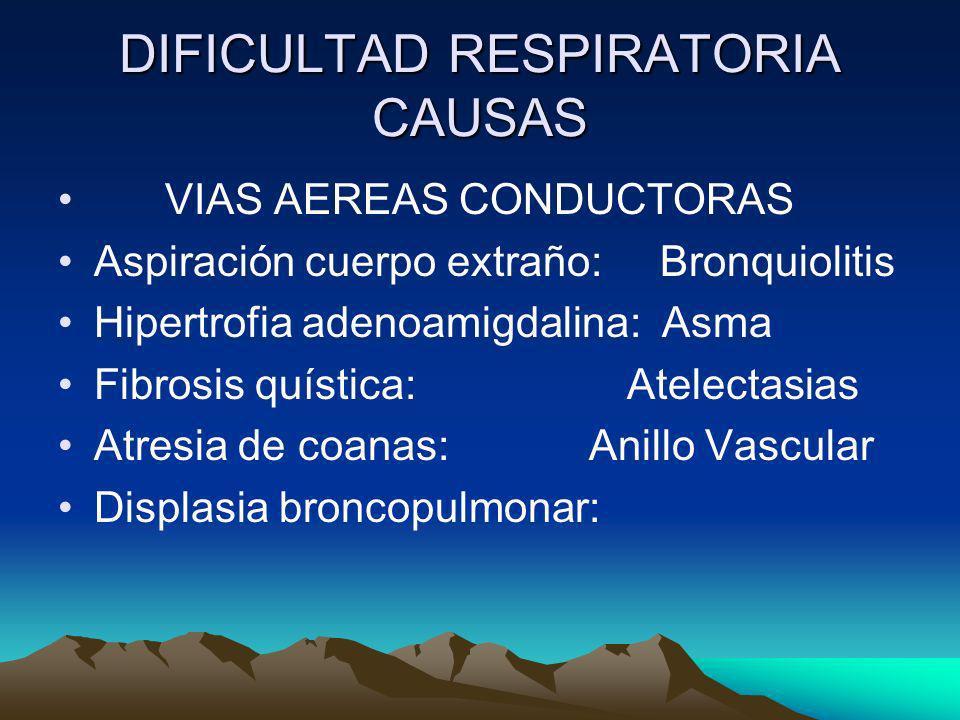 DIFICULTAD RESPIRATORIA CAUSAS VIAS AEREAS CONDUCTORAS Aspiración cuerpo extraño: Bronquiolitis Hipertrofia adenoamigdalina: Asma Fibrosis quística: A