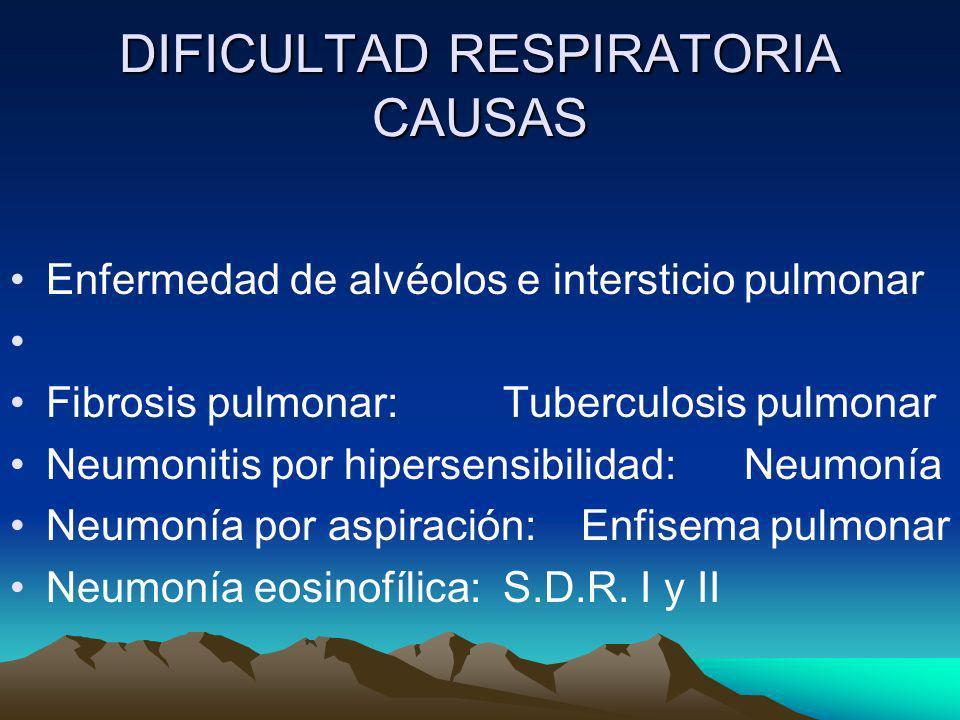 DIFICULTAD RESPIRATORIA CAUSAS Enfermedad de alvéolos e intersticio pulmonar Fibrosis pulmonar: Tuberculosis pulmonar Neumonitis por hipersensibilidad
