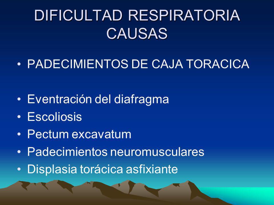 DIFICULTAD RESPIRATORIA CAUSAS PADECIMIENTOS DE CAJA TORACICA Eventración del diafragma Escoliosis Pectum excavatum Padecimientos neuromusculares Disp