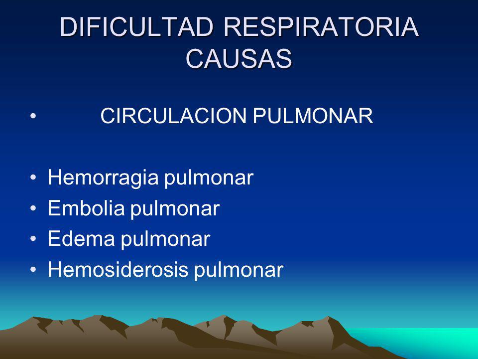 DIFICULTAD RESPIRATORIA CAUSAS CIRCULACION PULMONAR Hemorragia pulmonar Embolia pulmonar Edema pulmonar Hemosiderosis pulmonar