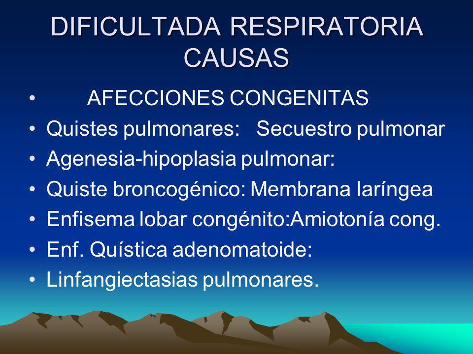 DIFICULTADA RESPIRATORIA CAUSAS AFECCIONES CONGENITAS Quistes pulmonares: Secuestro pulmonar Agenesia-hipoplasia pulmonar: Quiste broncogénico: Membra