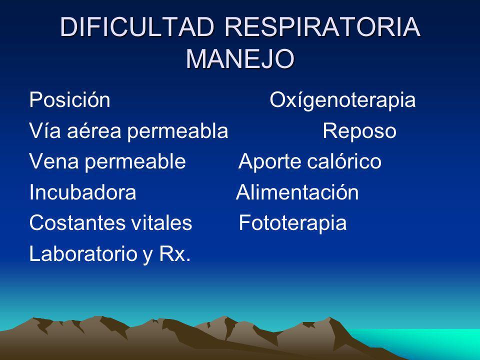 DIFICULTAD RESPIRATORIA MANEJO Posición Oxígenoterapia Vía aérea permeabla Reposo Vena permeable Aporte calórico Incubadora Alimentación Costantes vit
