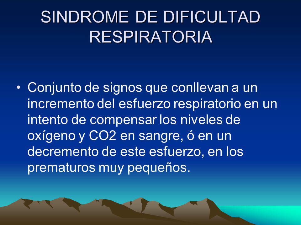 Conjunto de signos que conllevan a un incremento del esfuerzo respiratorio en un intento de compensar los niveles de oxígeno y CO2 en sangre, ó en un