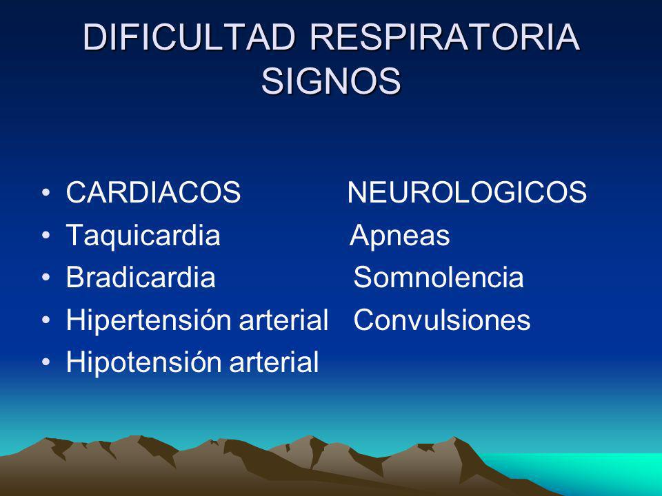 DIFICULTAD RESPIRATORIA SIGNOS CARDIACOS NEUROLOGICOS Taquicardia Apneas Bradicardia Somnolencia Hipertensión arterial Convulsiones Hipotensión arteri