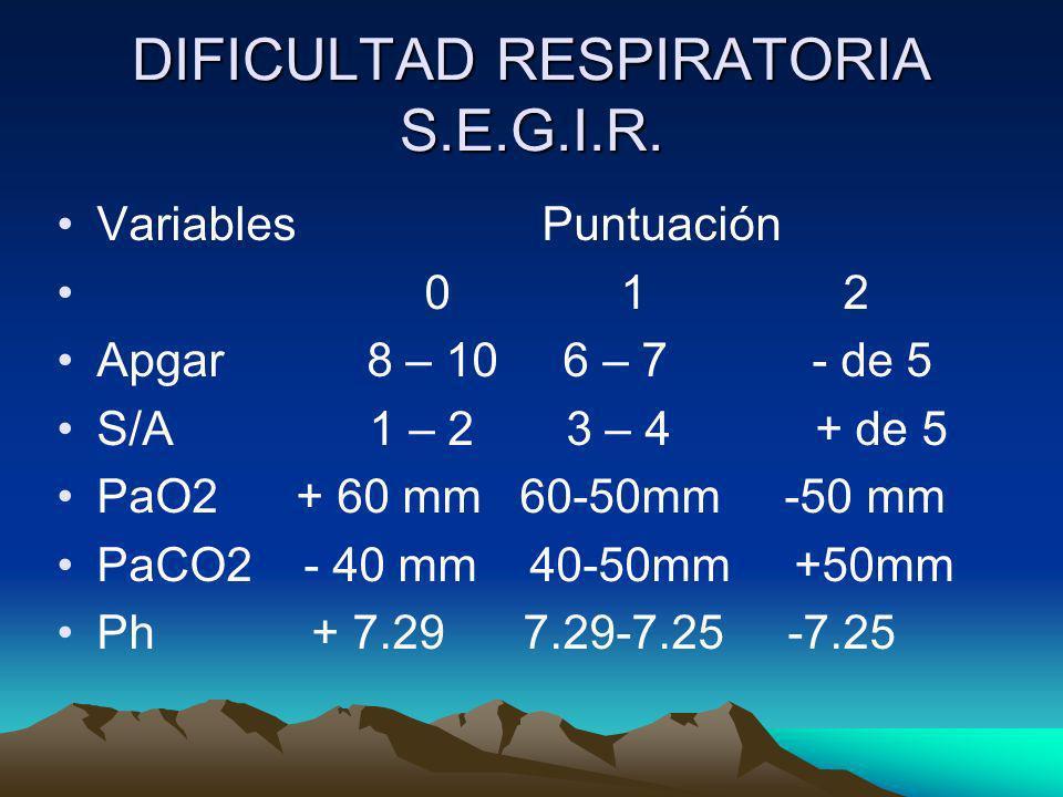 DIFICULTAD RESPIRATORIA S.E.G.I.R. Variables Puntuación 0 1 2 Apgar 8 – 10 6 – 7 - de 5 S/A 1 – 2 3 – 4 + de 5 PaO2 + 60 mm 60-50mm -50 mm PaCO2 - 40