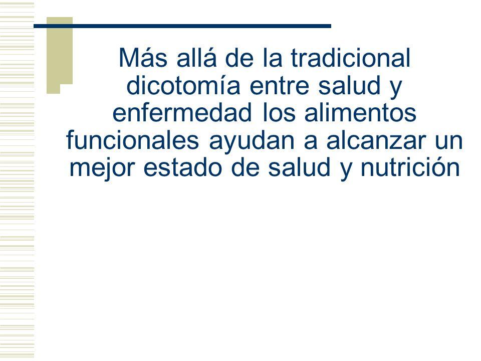 Más allá de la tradicional dicotomía entre salud y enfermedad los alimentos funcionales ayudan a alcanzar un mejor estado de salud y nutrición