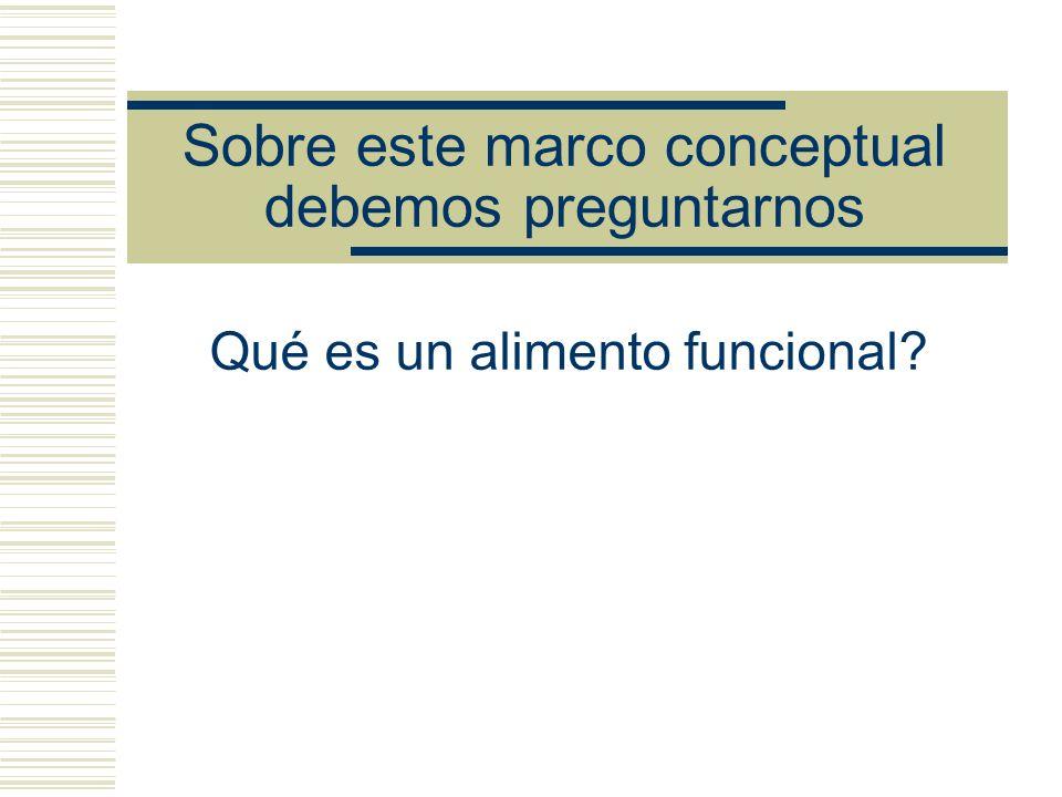 Sobre este marco conceptual debemos preguntarnos Qué es un alimento funcional?