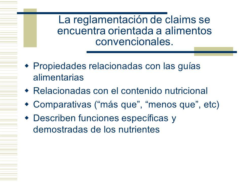 La reglamentación de claims se encuentra orientada a alimentos convencionales. Propiedades relacionadas con las guías alimentarias Relacionadas con el
