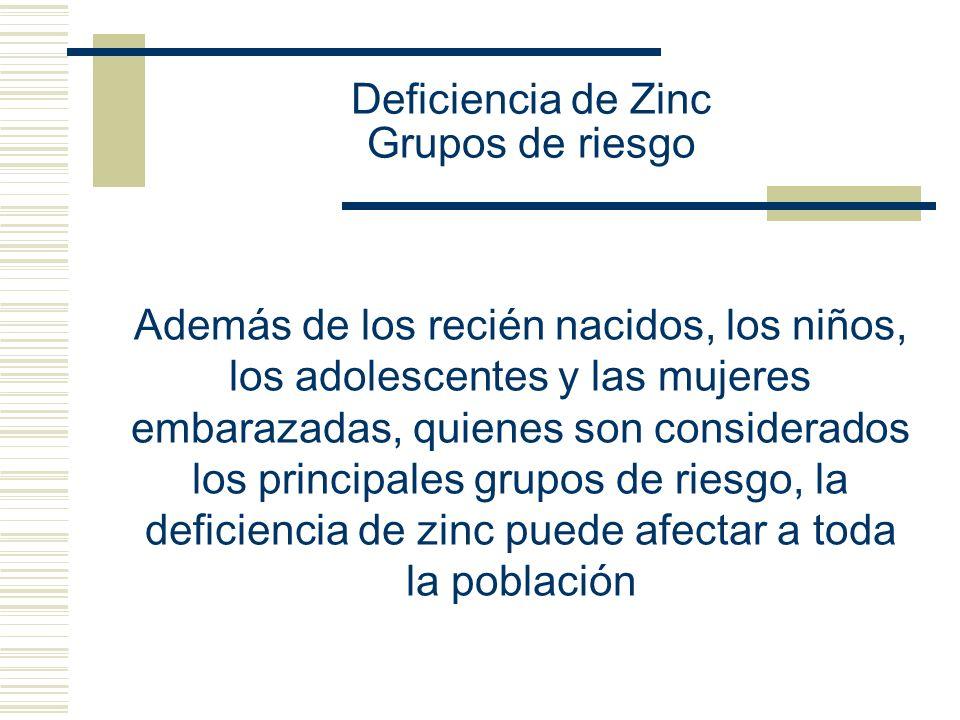 Deficiencia de Zinc Grupos de riesgo Además de los recién nacidos, los niños, los adolescentes y las mujeres embarazadas, quienes son considerados los